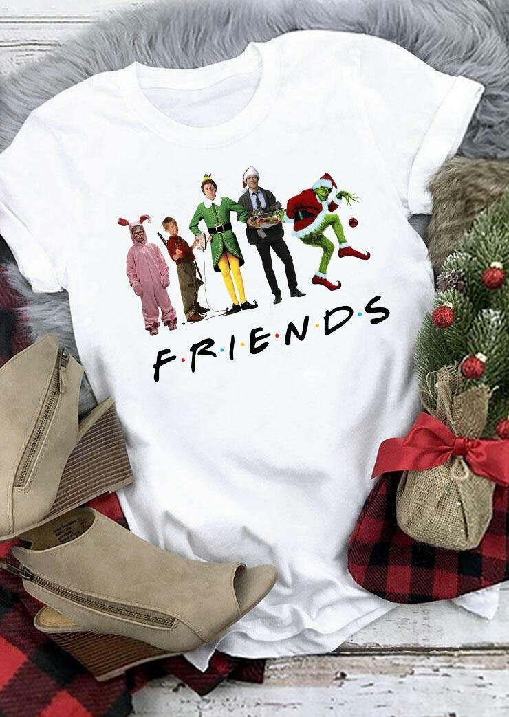 Christmas Character Grinch Letter T-Shirt Tee - White