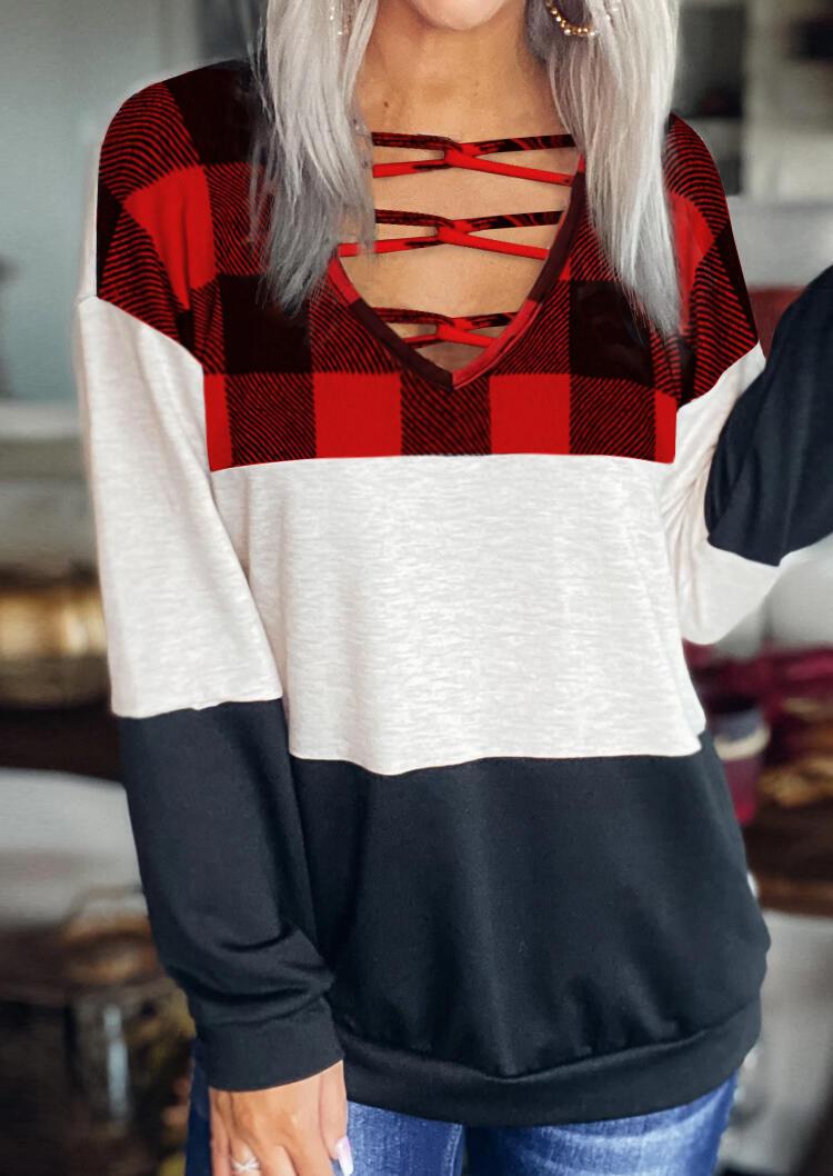 Buffalo Plaid Color Block Criss-Cross Long Sleeve Blouse