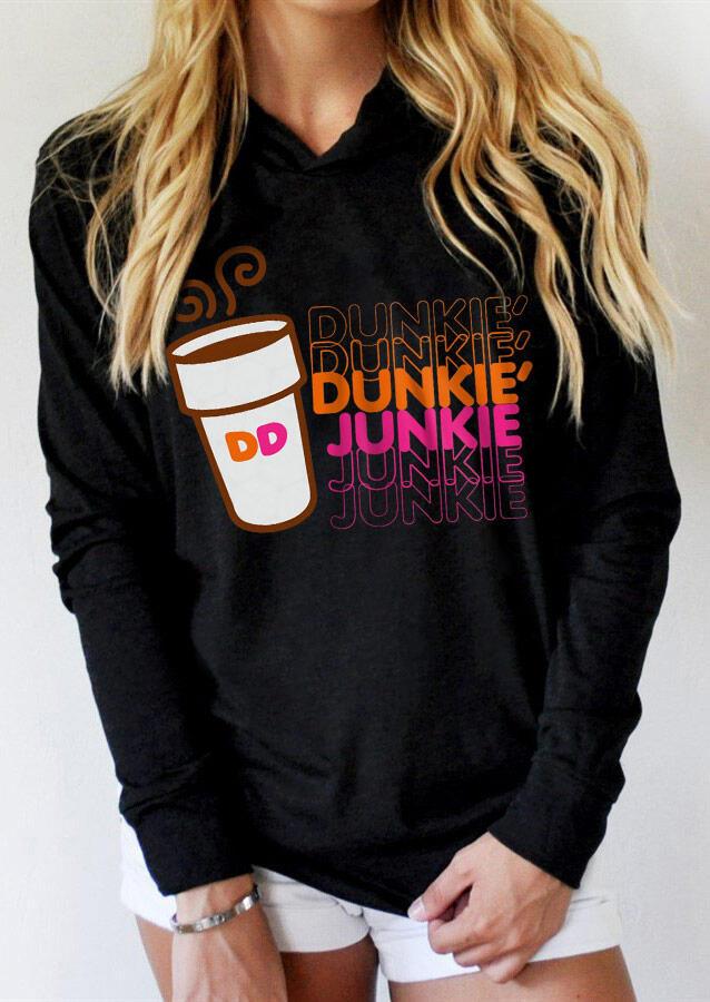 Dunkie Junkie Long Sleeve Pullover Hoodie - Black