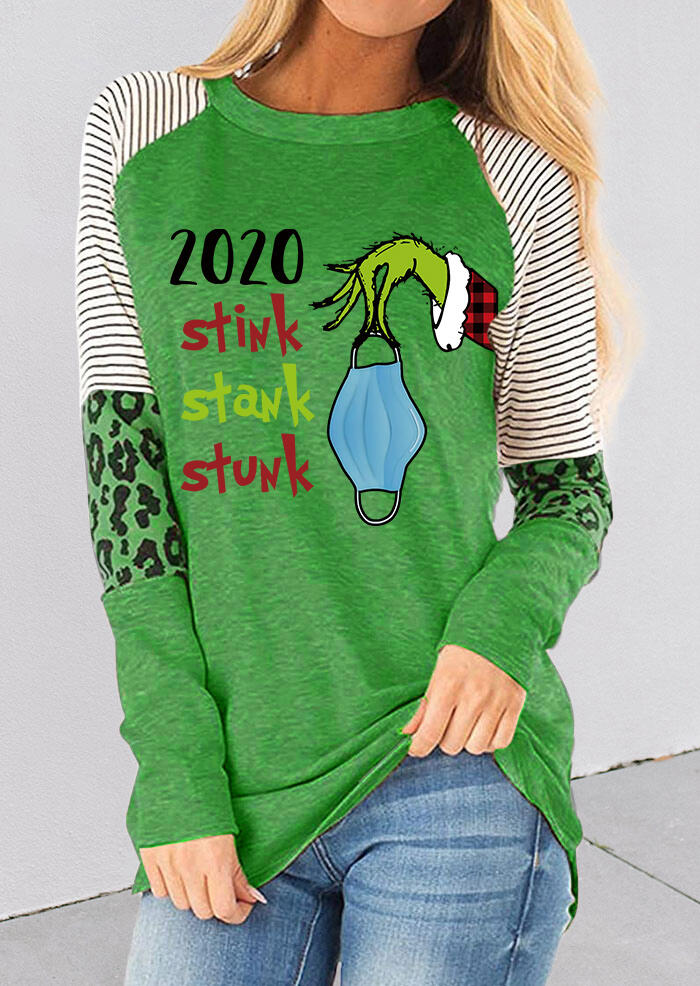 2020 Stink Stank Stunk Grinch Hand Striped Leopard Blouse - Green
