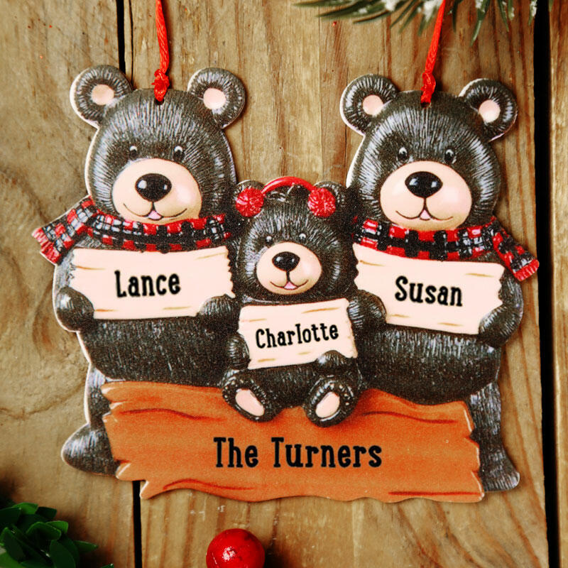 Christmas Bear Family Buffalo Plaid Hanging Ornament ...