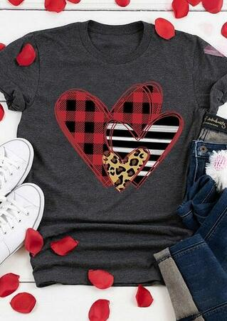 Striped Plaid Leopard Printed Splicing Heart T-Shirt Tee - Dark Grey