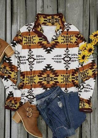 Aztec Geometric Button Fleece Pullover Sweatshirt