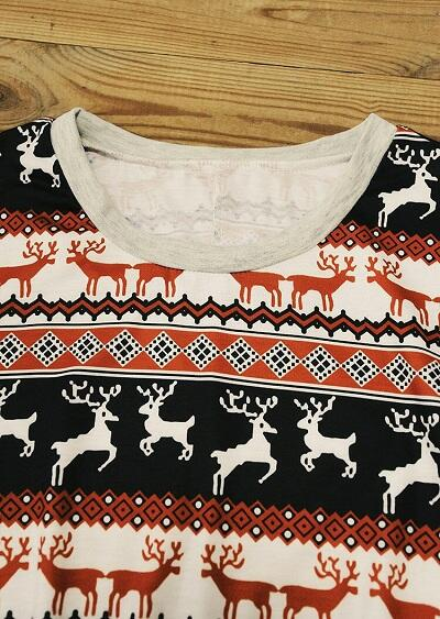 Christmas Reindeer Blouse And Drawstring Pants PajamasSet