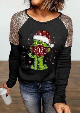 Christmas Grinch 2020 Plaid Sequined Blouse - Black