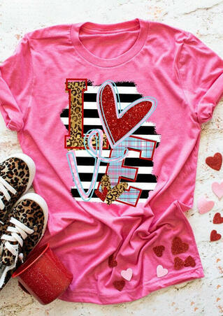 Love Leopard Striped Plaid Sequined T-Shirt Tee - Pink