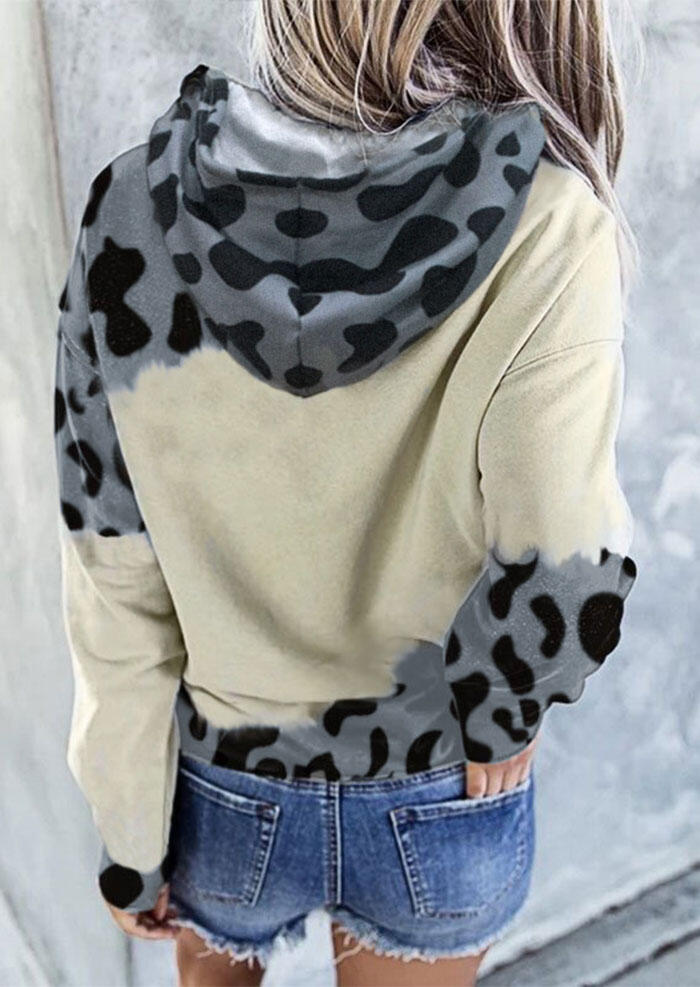 Cattle Leopard Splicing Drawstring Kangaroo Pocket Hoodie