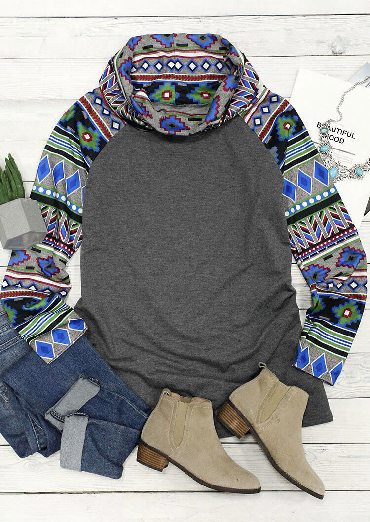 Aztec Geometric Cowl Neck Pullover Sweatshirt - Gray