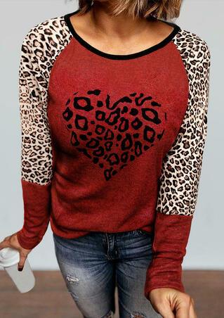 Leopard Heart Long Sleeve Blouse - Red