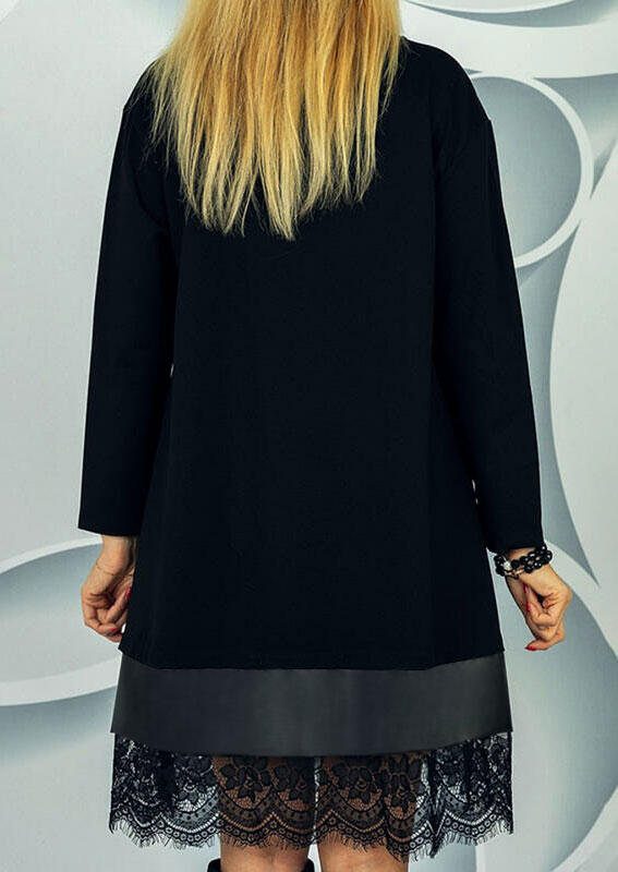 Lace Splicing Long Sleeve Mini Dress - Black