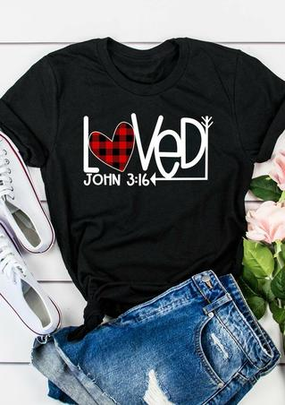 Plaid Heart Arrow Loved T-Shirt Tee - Black
