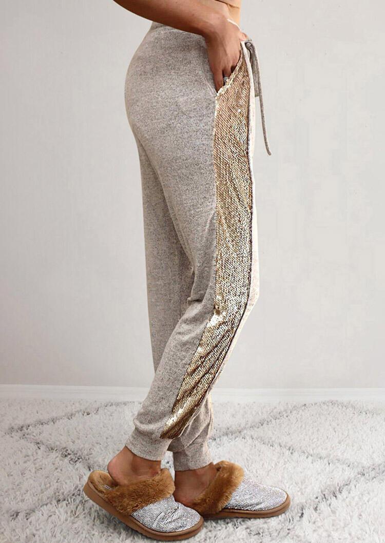 Sequined Splicing Drawstring Elastic Waist Pants - Light Grey