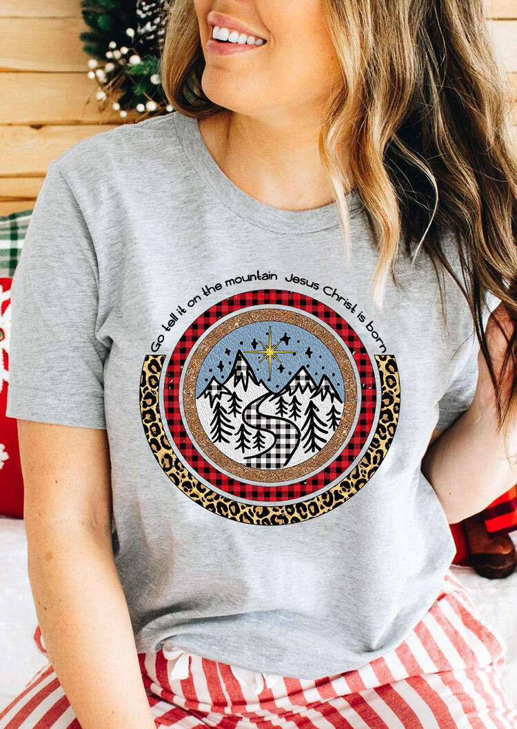 Jesus Christ Is Born Leopard Plaid Sequined T-Shirt Tee - Gray