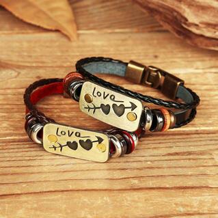 Love Heart Arrow Beading Braided Bracelet