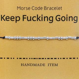 Fashion Beading Morse Code Adjustable Rope Bracelet