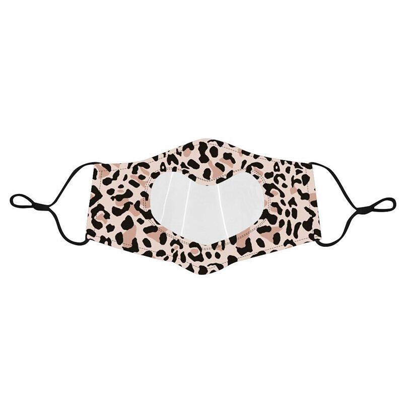 Leopard Transparent Heart Shaped Reusable Face Mask
