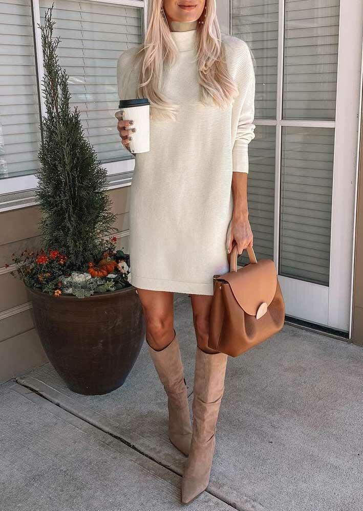 Long Sleeve Turtleneck Casual Mini Dress - Apricot