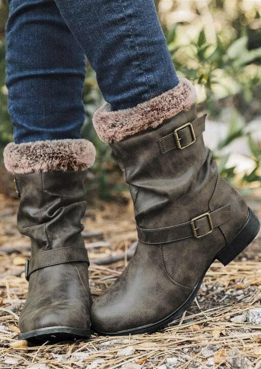 Buckle Strap Round Toe Plush Warm Boots