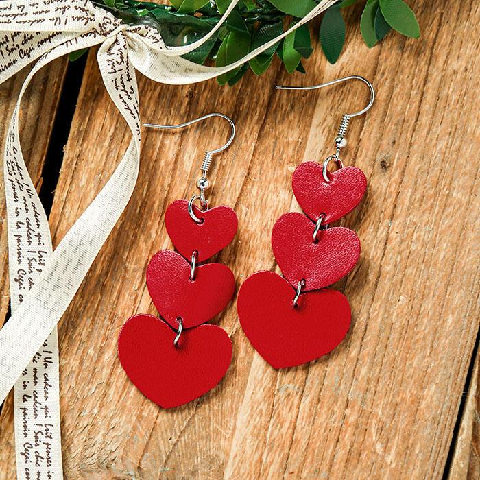Love Heart Multi-Layered Drop Earrings - Red