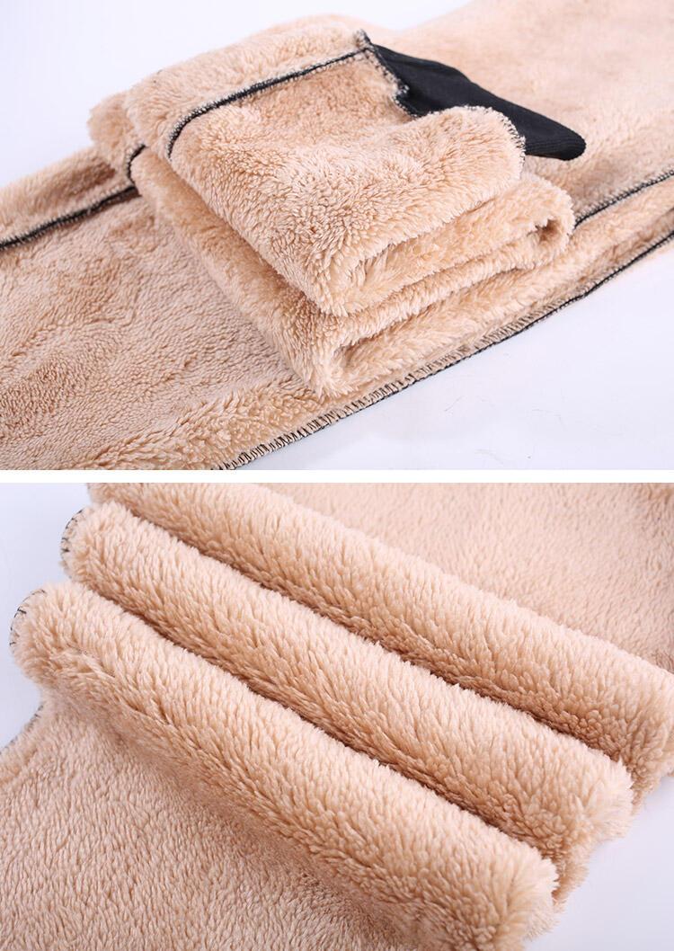 Winter Thickened Warm Fleece Pocket Drawstring Pants - Black