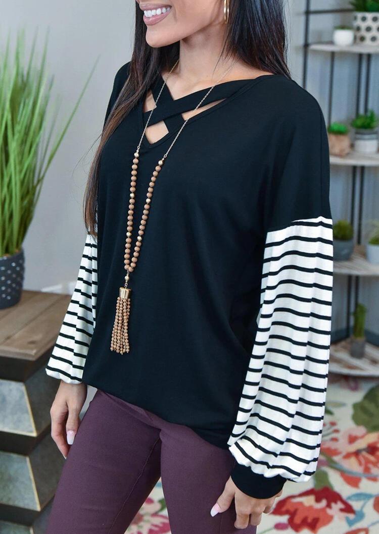 Striped Criss-Cross Lantern Sleeve V-Neck Blouse - Black