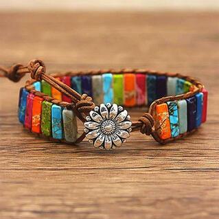 Sunflower Colorful Stone Beaded Wrap Bracelet