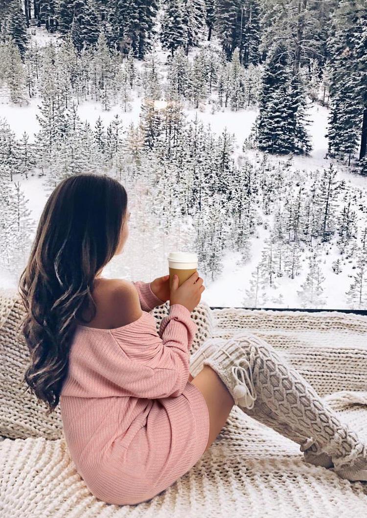 Drop Shoulder V-Neck Knitted Mini Dress - Pink