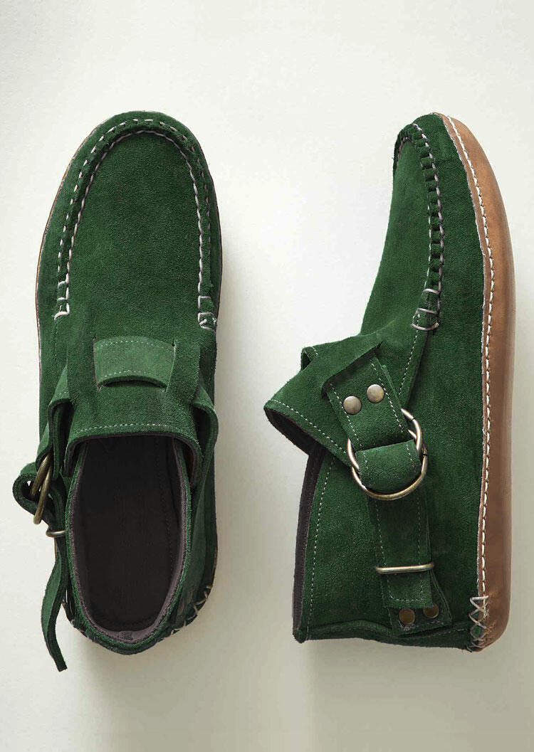 Buckle Strap Round Toe Flat Ankle Boots - Green