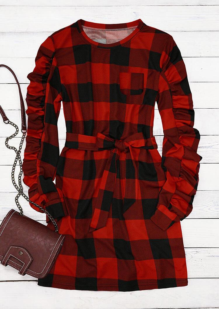 Buffalo Plaid Ruffled Puff Sleeve Mini Dress - Red