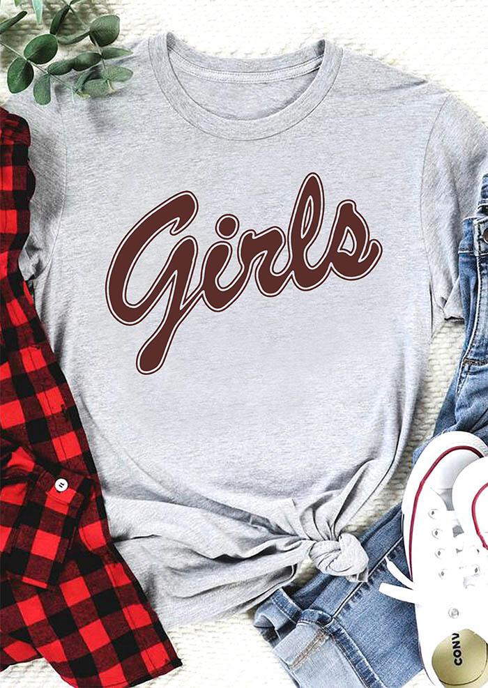 Girls O-Neck T-Shirt Tee - Gray