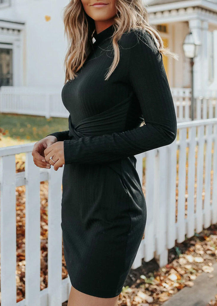 Hollow Out Twist Long Sleeve Bodycon Dress - Black