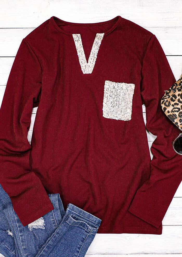 Sequined Splicing Pocket Long Sleeve Casual Blouse - Burgundy