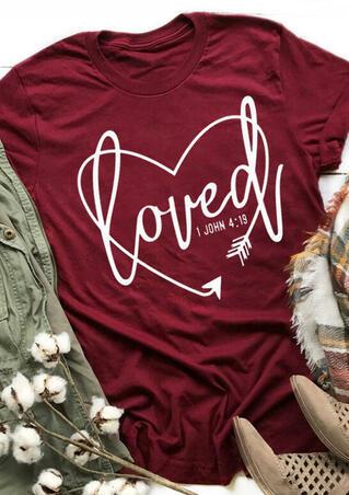 Loved Heart Arrow T-Shirt Tee - Burgundy