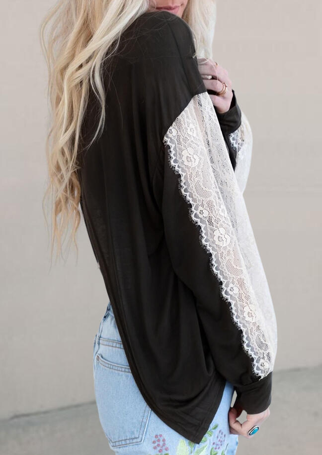 Lace Splicing Open Back Long Sleeve Blouse without Camisole - Black