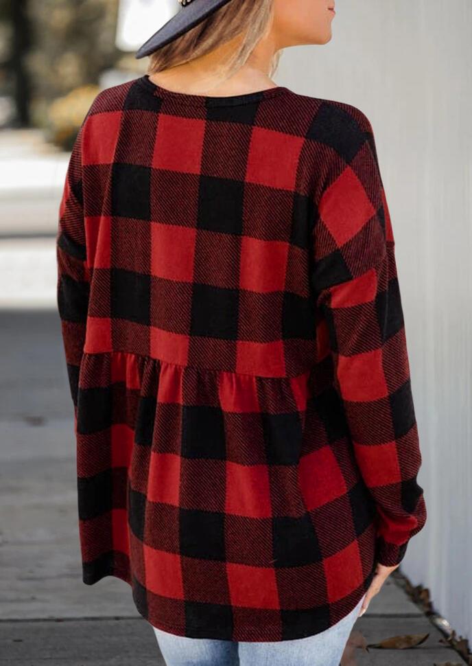 Buffalo Plaid Ruffled Button Long Sleeve Blouse