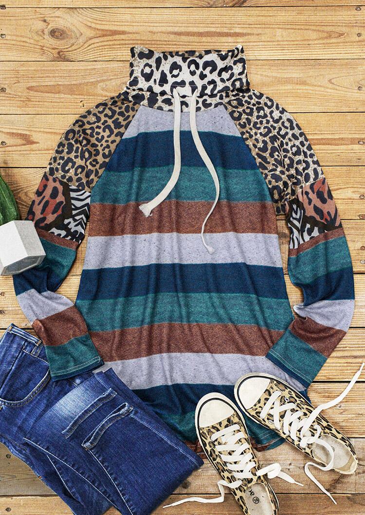 Leopard Splicing Striped Drawstring Cowl Neck Sweatshirt