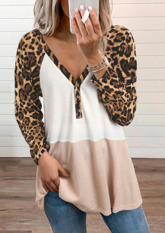 Leopard Color Block Button V-Neck Casual Blouse - White