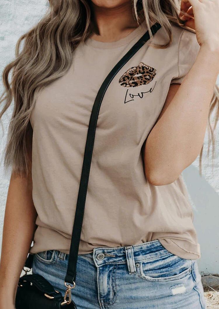 Leopard Lips Love T-Shirt Tee - Apricot