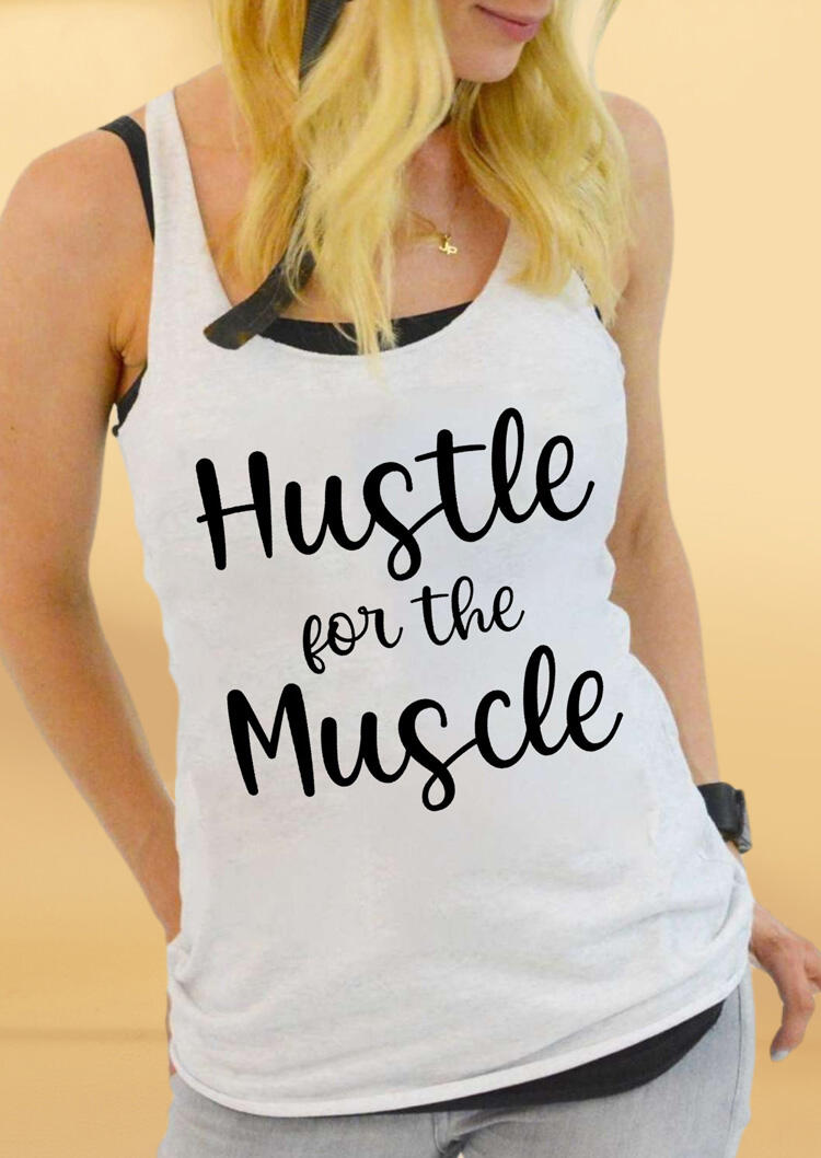 Hustle For The Muscle Workout Tank - White