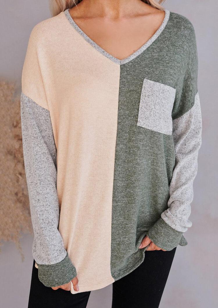 Color Block Pocket V-Neck Long Sleeve Blouse