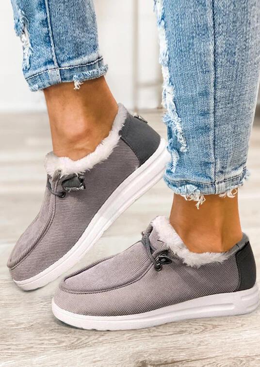 Warm Plush Slip On Flat Sneakers - Gray
