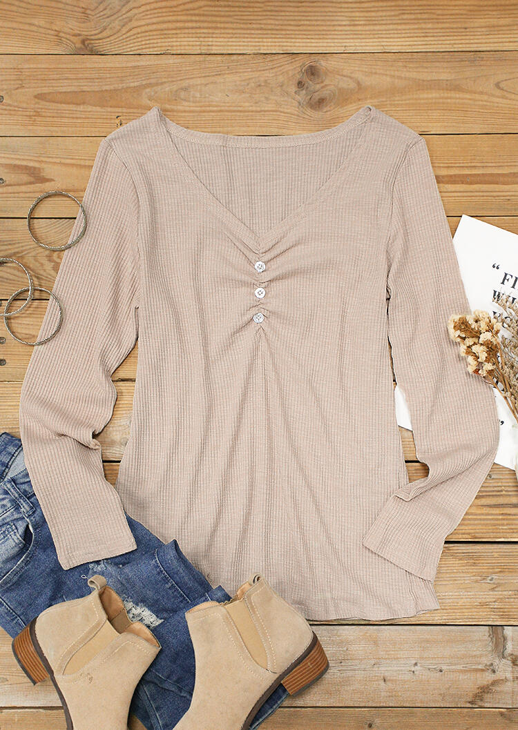 Button Ruched V-Neck Long Sleeve Blouse - Apricot