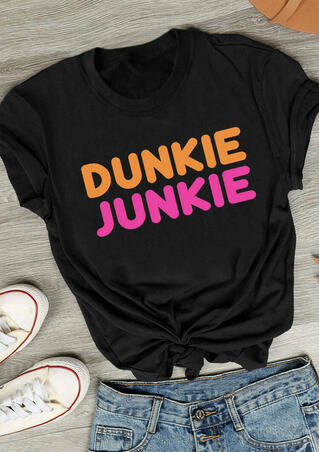 Dunkie Junkie O-Neck T-Shirt Tee - Black