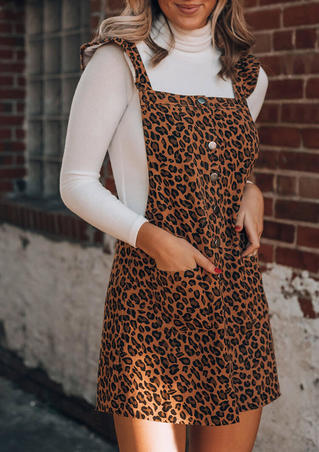 Leopard Button Pocket Overall Mini Dress