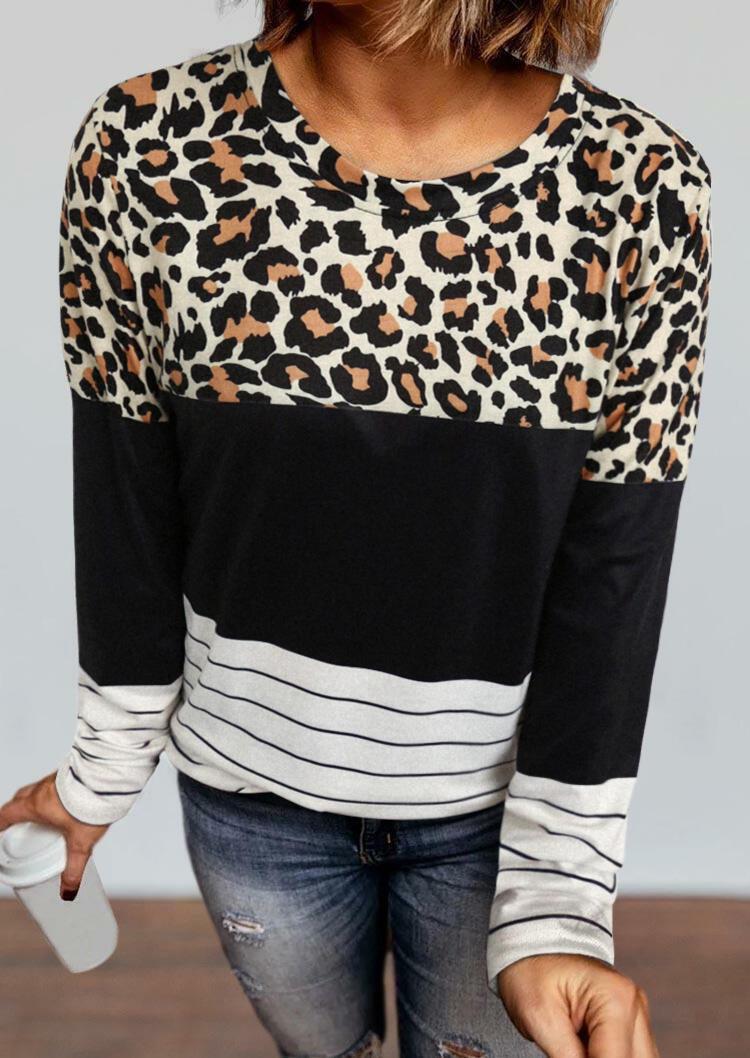 Leopard Striped Color Block Splicing Blouse