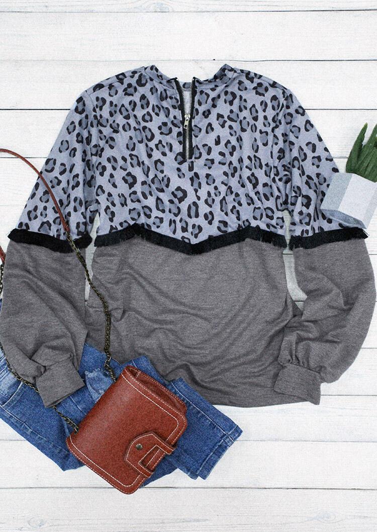 Leopard Tassel Splicing Zipper Long Sleeve Pullover Sweatshirt