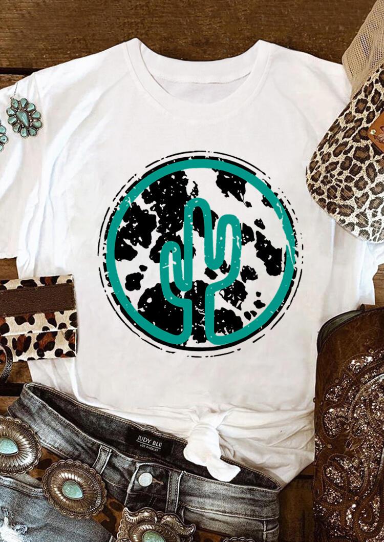 Cowhide Cactus Western O-Neck T-Shirt Tee - White