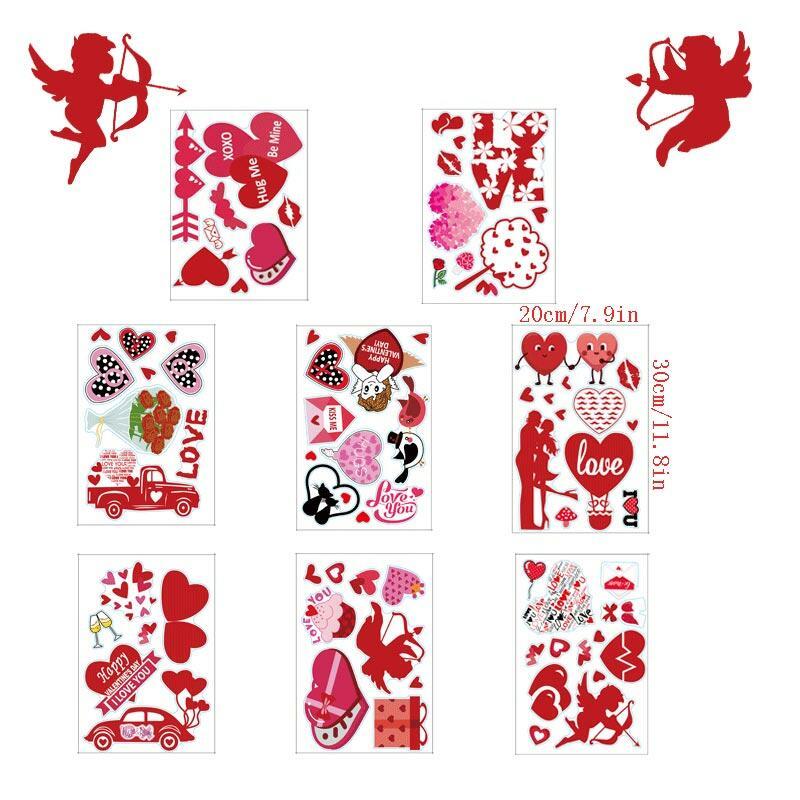 8Pcs Happy Valentine's Day Love Heart Decorative Window Stickers