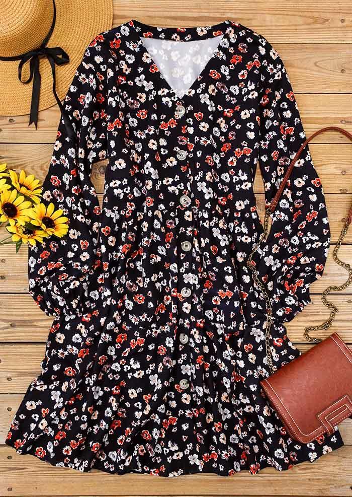 Floral V-Neck Button Pocket Elastic Cuff Mini Dress - Black