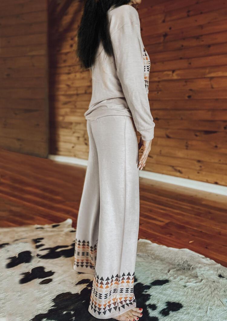 Aztec Geometric Blouse And Drawstring Pants Two-Piece Set